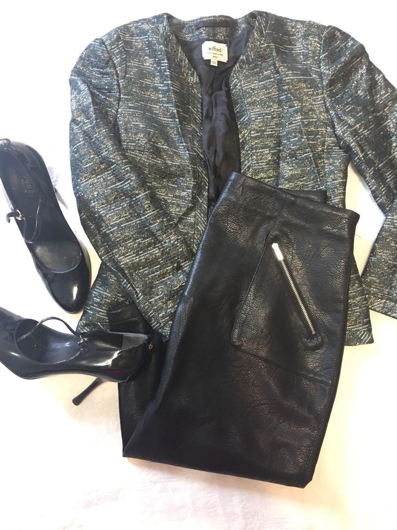 Aritzia Wilfred Crop Metallic Blazer Jacket