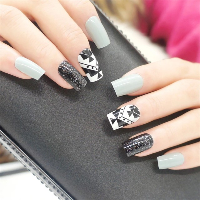 Artificial Fake Nail With Glue Black Grey Long False Nails Shiny