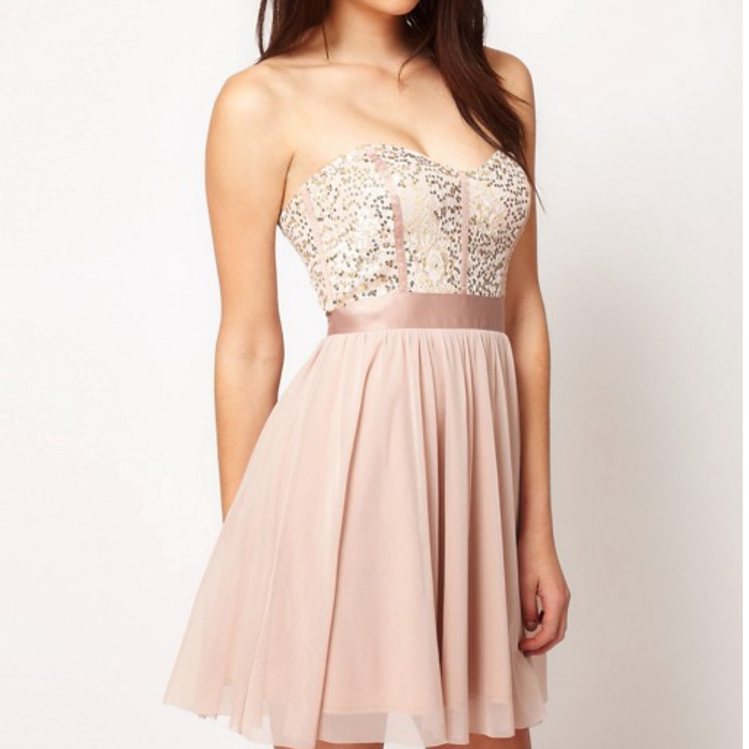 ASOS Skater Dress With Lace Bustier