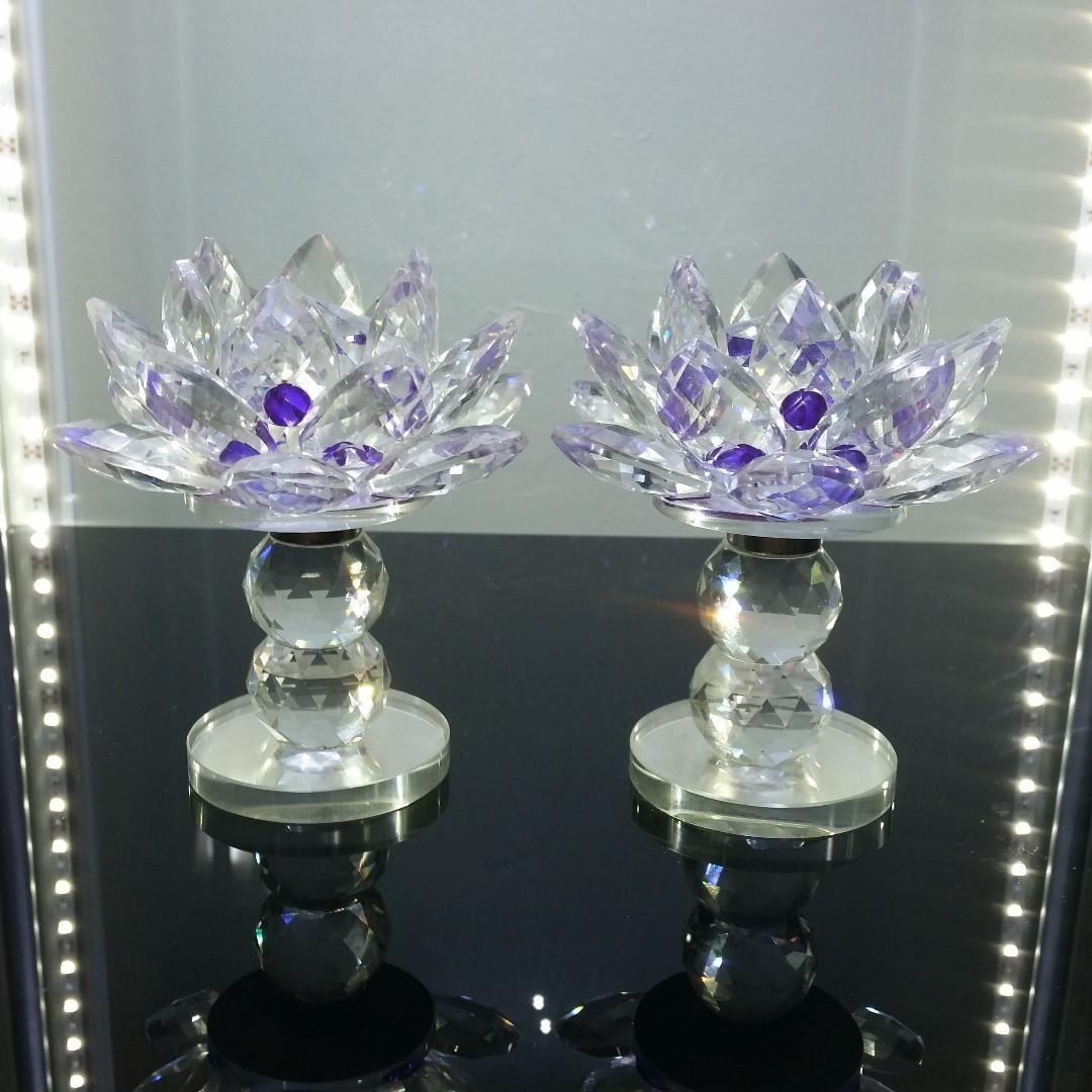 Austria Purple Crystal Lotus Flower Vintage