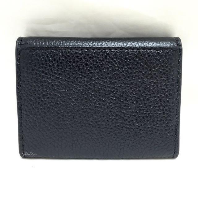 b330b8413e49 BNIB Michael Kors Fulton Leather Snap Card Case Wallet Black