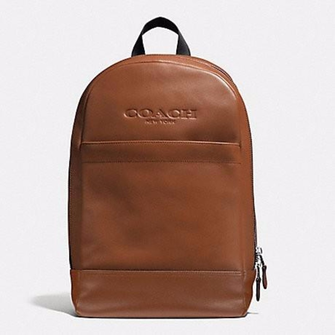 4e41c2ce9 ... authentic authentic charles slim backpack in sport calf leather coach  f54135 saddle brown mens fashion bags