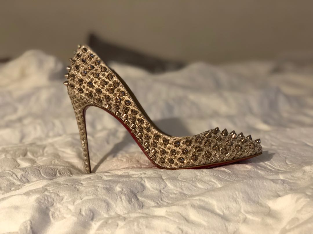 new arrival 31ea5 d4fc5 Christian Louboutin Follies spikes 100 quadro lurex, Women's ...