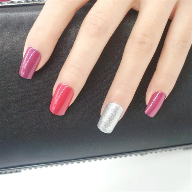 Colored Artificial Fake Nail With Glue Long False Nails Finger Nail ...
