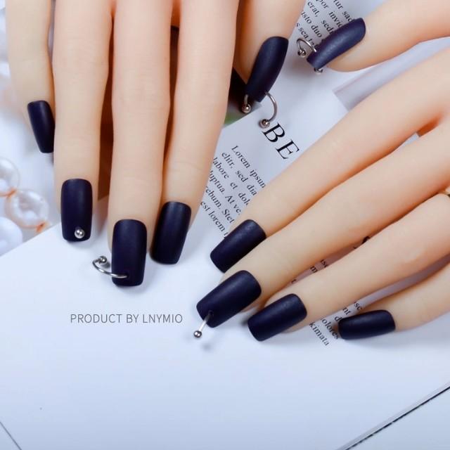 Fashion long fake nails dark blue matte press on tips with metal ...