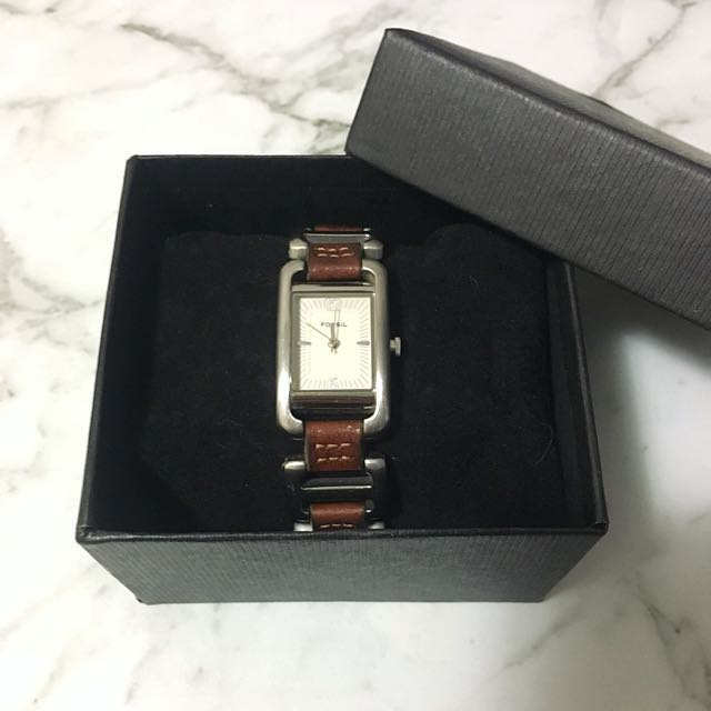 Fossil Brown Watch With Leather Links
