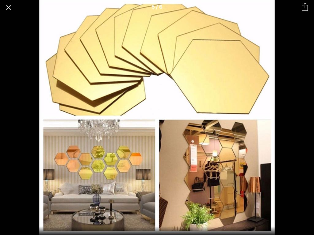 Gold Octagon Mirror Decorative Pieces Furniture Home Decor On
