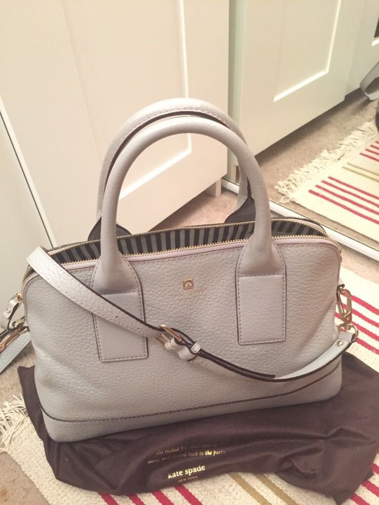 Gray leather Kate Spade handbag