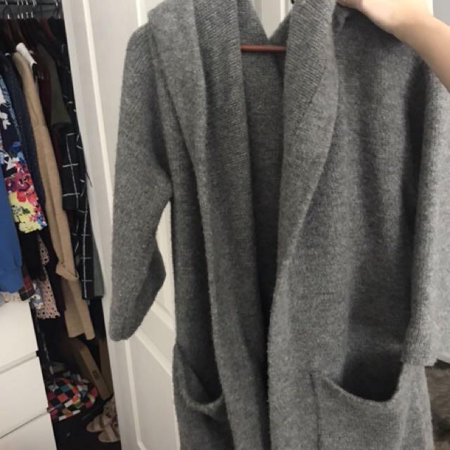 grey oversized cardigan with hood