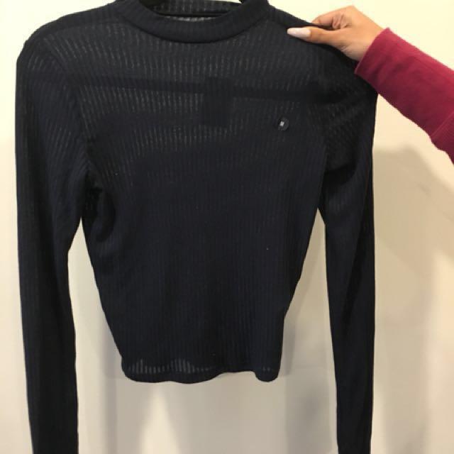Hollister Navy Blue Long Sleeve Shirt | Size M