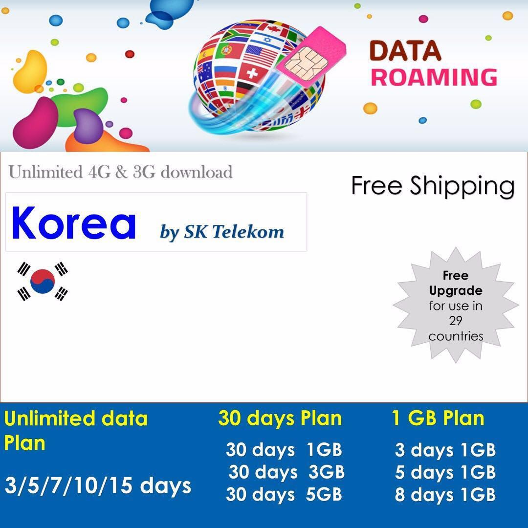 Korea Sim card : Data Roaming Sim cards with unlimited 4G data on SK Telecom. Free Upgrade for use in 10 countries