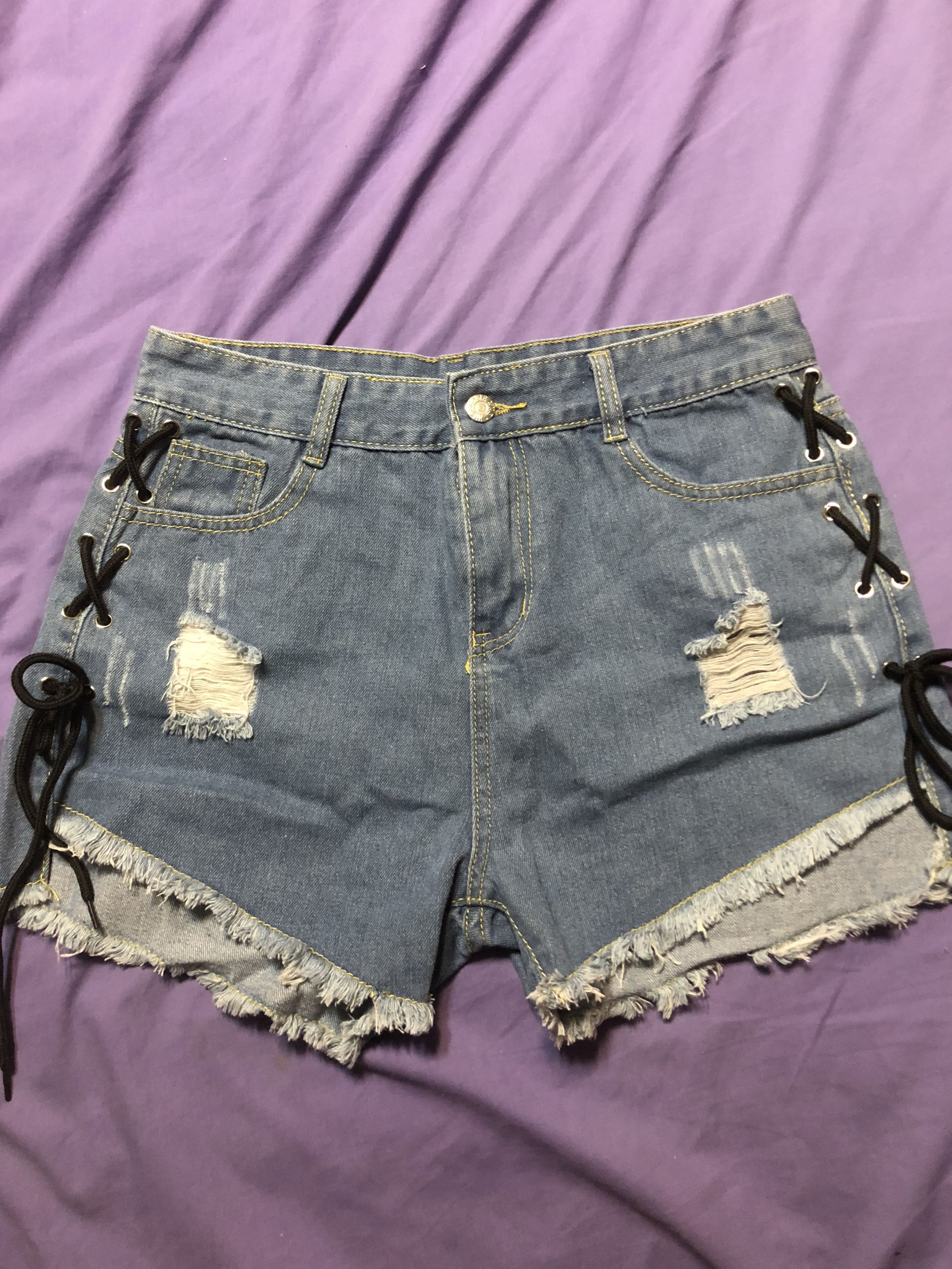 Laced Ripped Denim Shorts