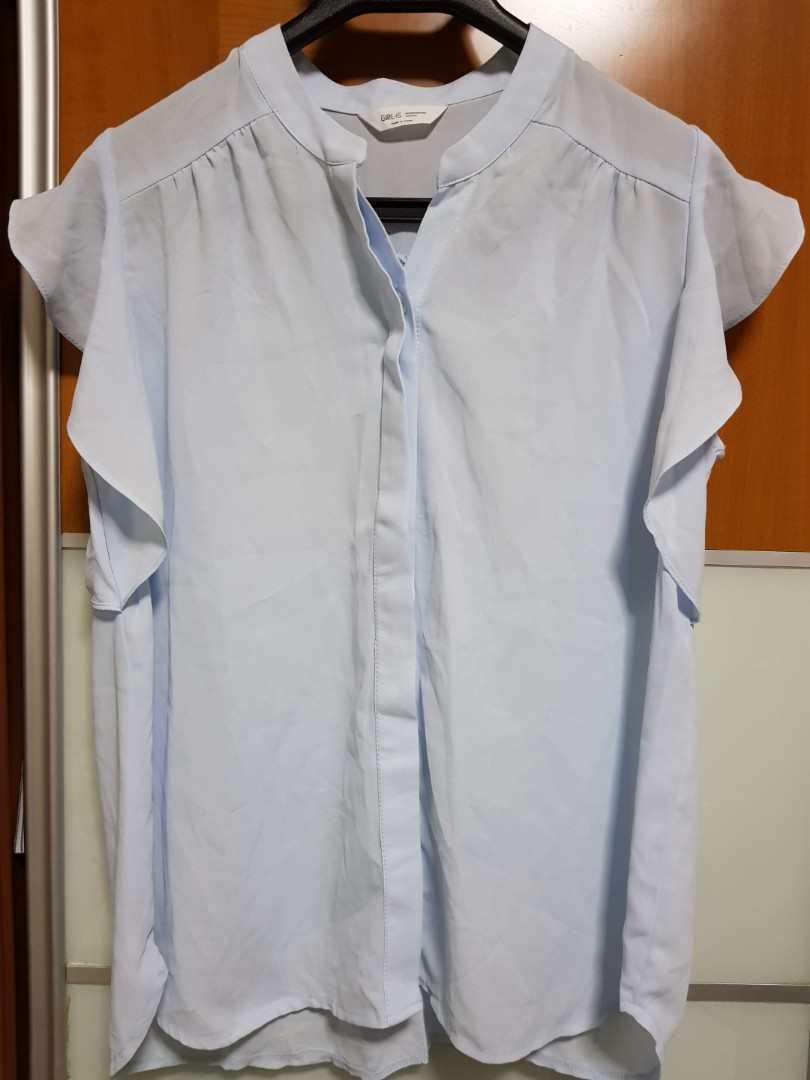 01947efe57d902 Light blue blouse (made in Korea), Women's Fashion, Clothes, Tops on ...