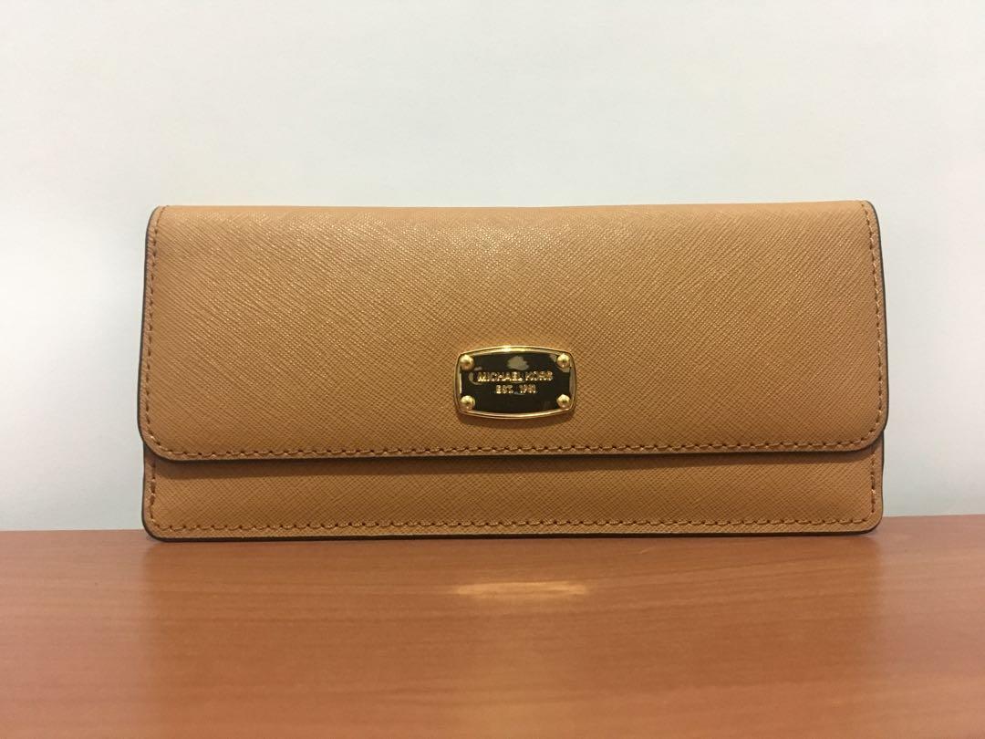 1785a4ad8250 ... denmark michael kors jet set flat wallet brown preloved womens fashion  c2429 d83b0