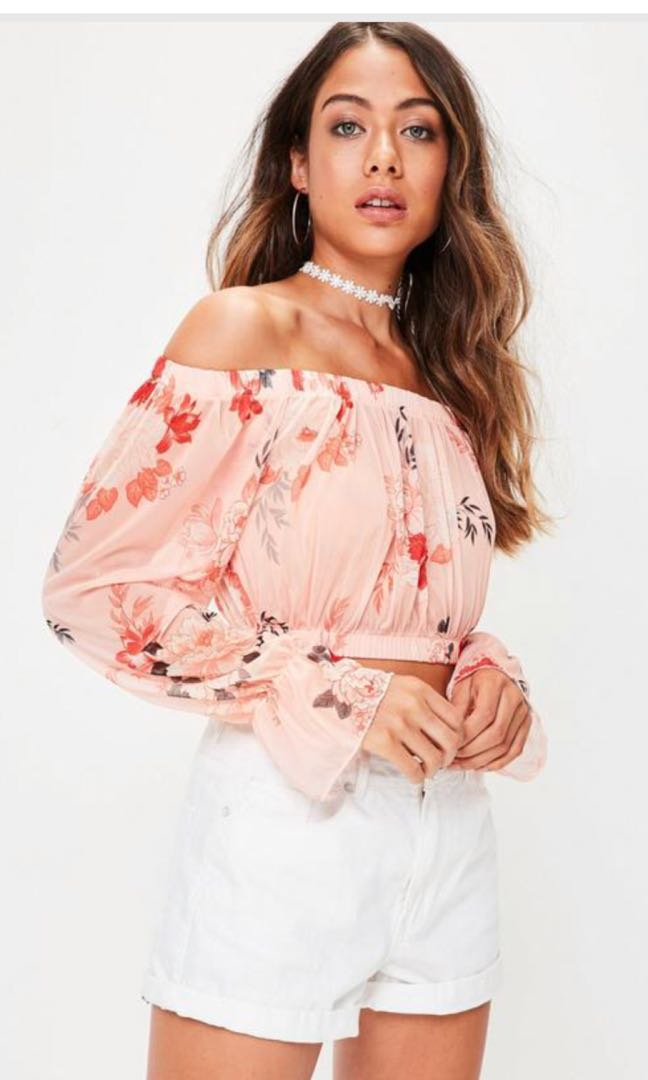 cb52ada314e682 Missguided Nude Floral Mesh Off Shoulder Crop Top