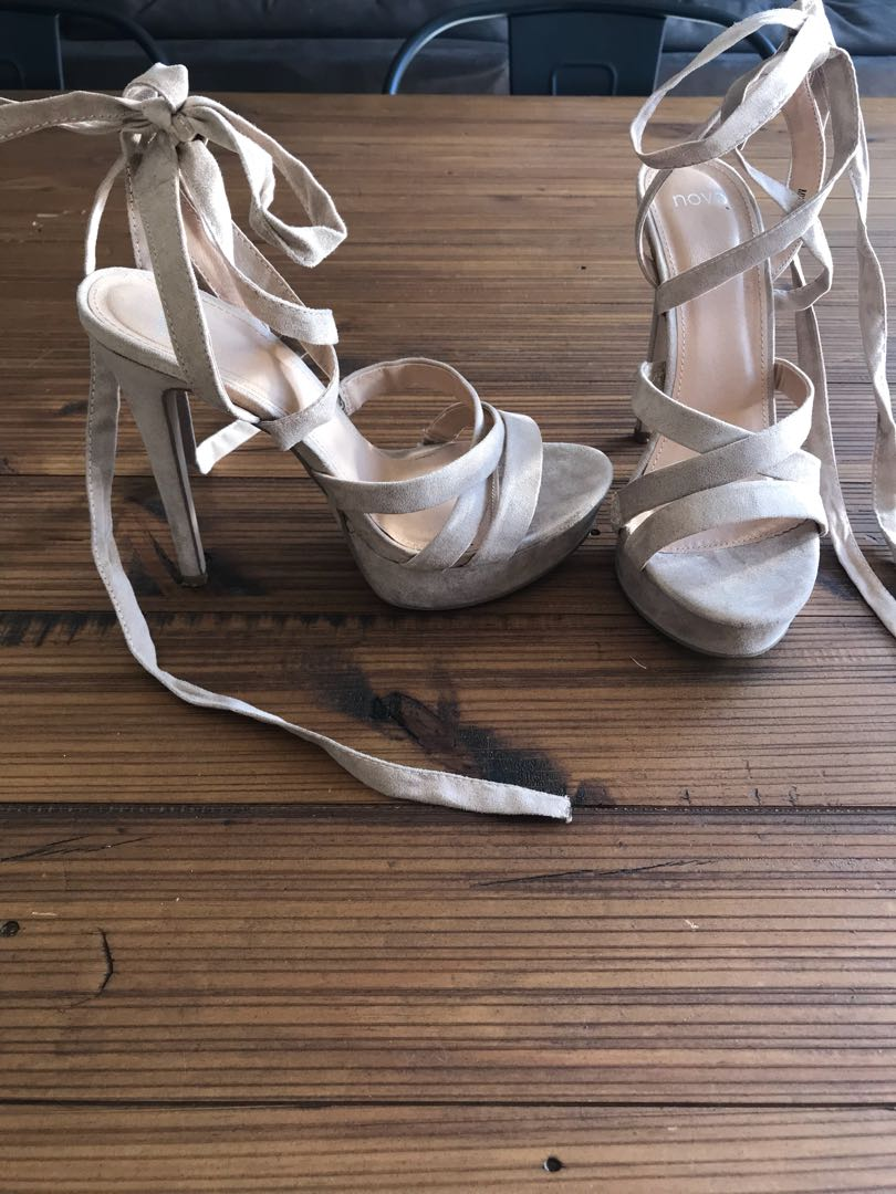 Nude tie up heels size 8