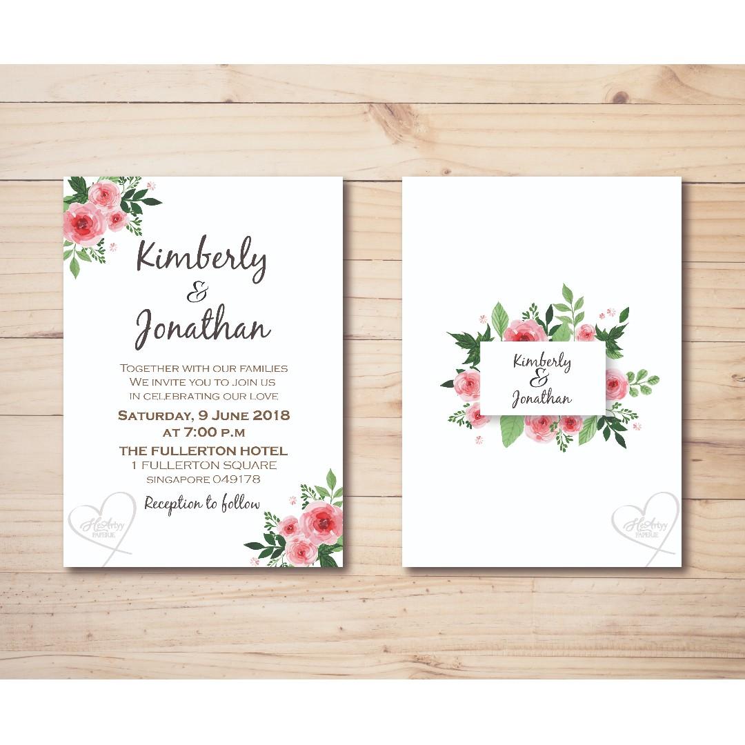 Pink Floral Theme Wedding Invitation Printable Template Design