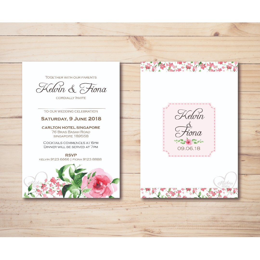 Pink Roses Wedding Invitation Printable Template, Design & Craft ...