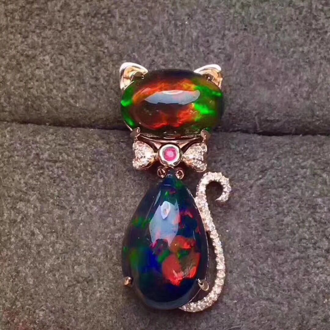 vintage necklace black opal platinum diamond pendant style
