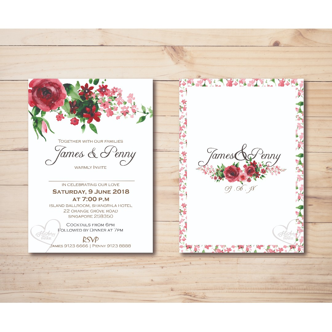 Red Rose Wedding Invitation Printable Template