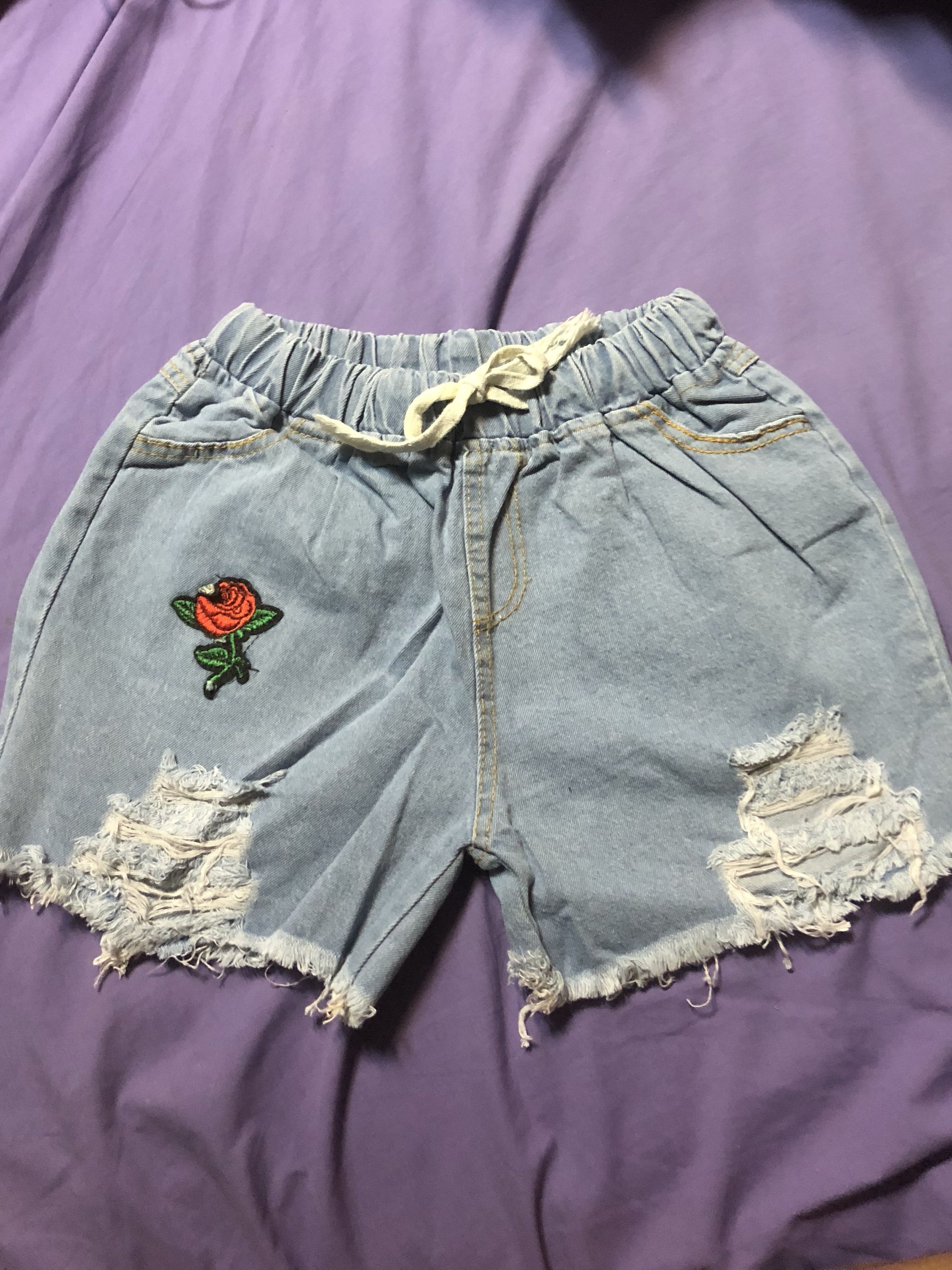 Rose Embroidered Patch Denim Ripped Shorts