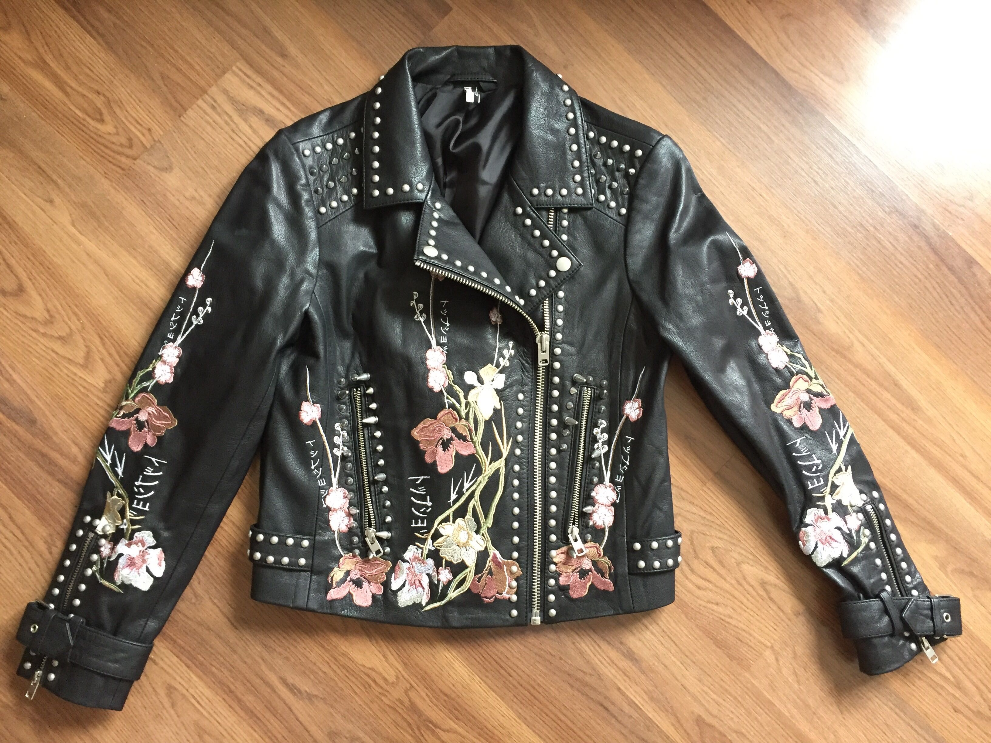 TOPSHOP Leather Embroidered Jacket