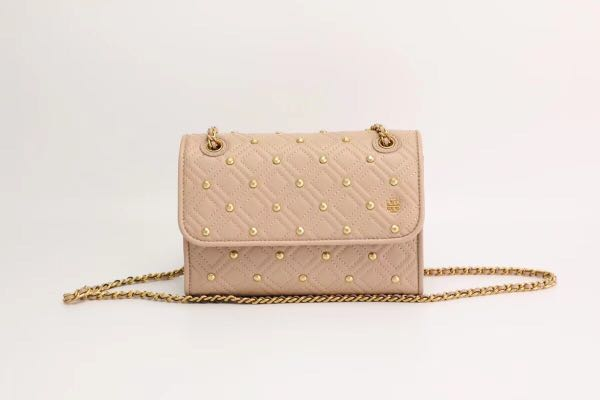 619ac5714b7 Tory Burch Fleming small convertible shoulder bag with studs - nude ...