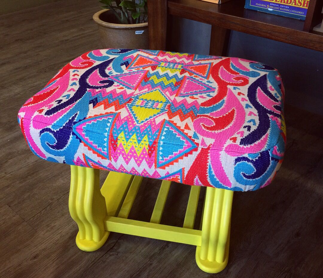 Unique Bench / Stool! Ottoman style. UPCYLED (see pics!)