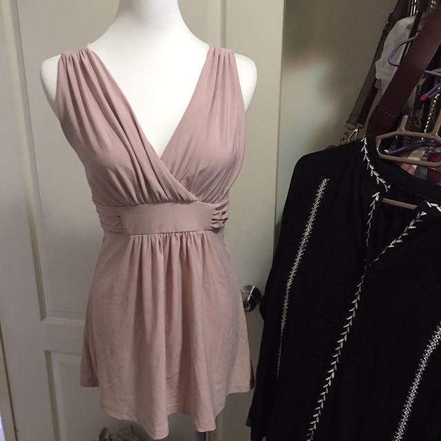 特價粉色v領性感洋裝