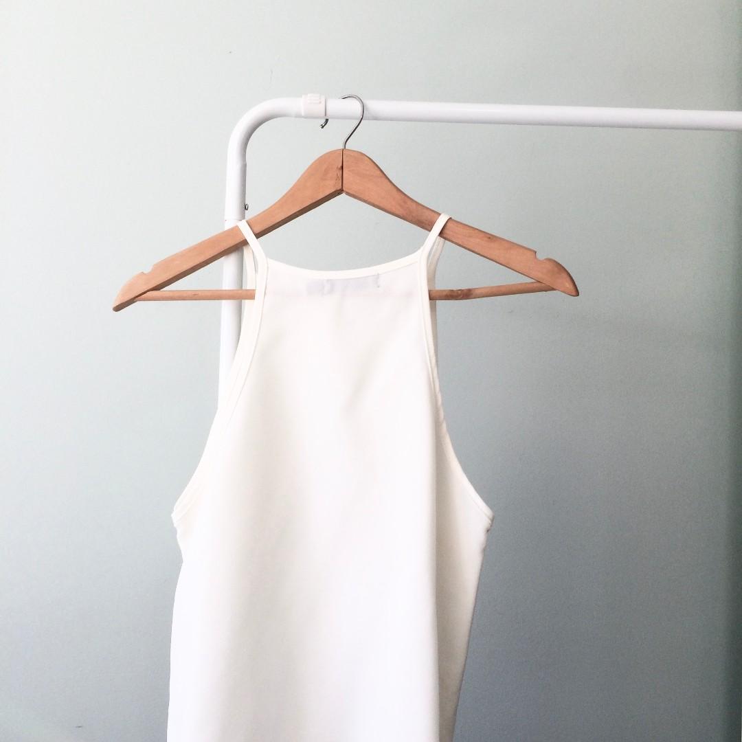 White chiffon sleeveless blouse