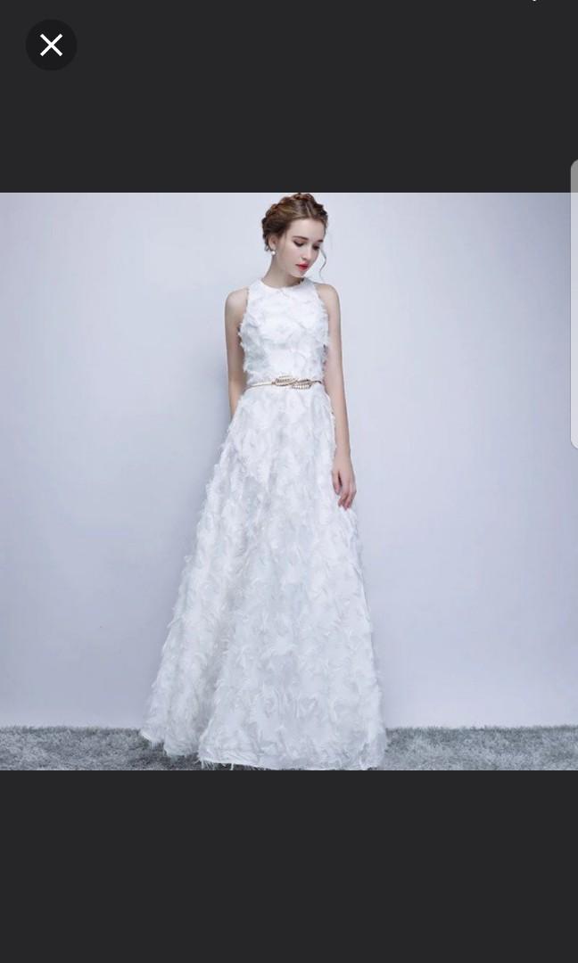 White feather design dress / evening gown / Wedding Dress, Women\'s ...