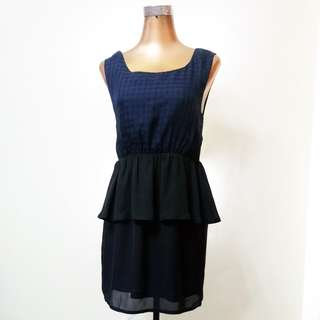 Dark blue and black checkered sleeveless dress