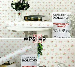 Wallpaper Dinding Uk. 10m Putih Motif Mawar Kecil