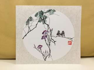 Chinese calligraphy art 水墨畫 (tree and 2 birds)