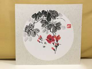 Chinese calligraphy art 水墨畫 (pink flower bees)