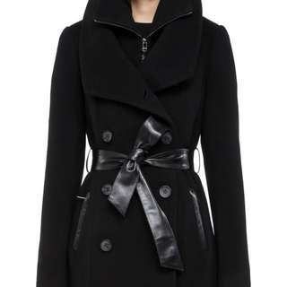 Mackage - DEVORA-F4 LONG DOUBLE BREASTED BLACK WOOL COAT FOR WOMEN WITH LEATHER BELT