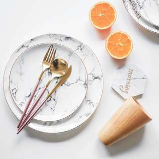 """[INS] Gold Lining Marble Printing Ceramic Dining Plate (8""""/20.5cm)"""