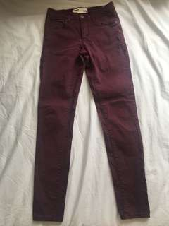 Garage maroon jeggings