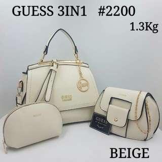 Guess 3 in 1 Set Handbag Beige Color