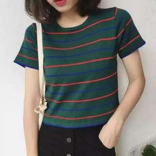 春夏條紋韓系女顯瘦學生肚臍上短版t恤
