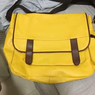 黃色 復古 多間隔 vintage 斜孭 側孭袋