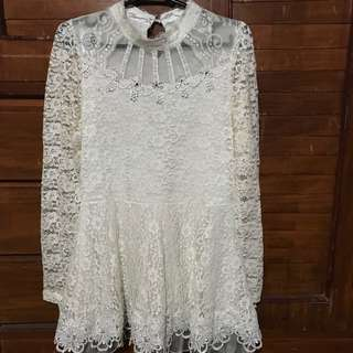 White Lacy Dress (Long sleeves)