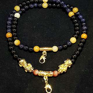 2 Hook Hand made Crystal Beads Necklace (Black Onyx, Blue Sandstone and Yellow Jade) with Pixiu