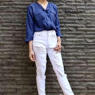 Set celana atasan biru putih