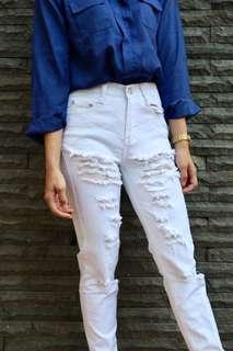 Ripped jeans putih white