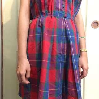 🚚 紅藍格紋背心洋裝