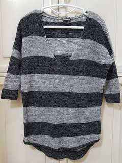 PROMO - EXPRESS black and gray stripes light sweater