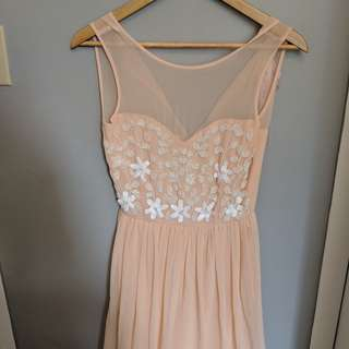 Long Peach Chiffon Sheath Dress New Size S