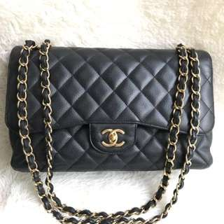 Great Deal🔥Authentic Chanel Jumbo Black Caviar Double Flap Gold Hardware