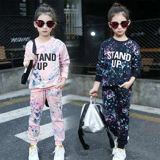 2018 spring new children Korean version of the graffiti round neck long sleeve sports suit two sets